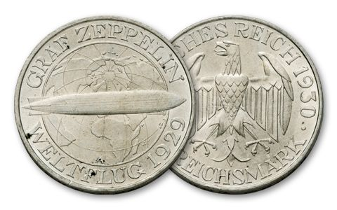 1930 Germany 3 Reichsmark Zeppelin F-VF