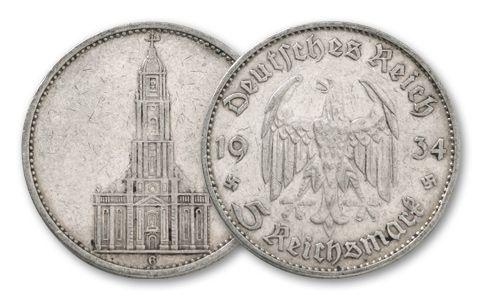1934-1935 Germany 5 Reichsmark Silver Potsdam Church VF