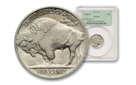 1938-D 5 Cent Buffalo PCGS MS66