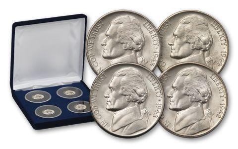 1942-1945 5 Cent Jefferson Nickel War Set BU