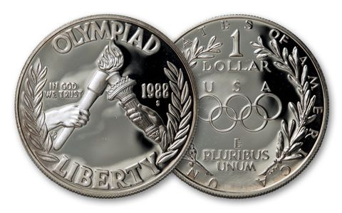 1988-S 1 Dollar Silver Olympic Proof