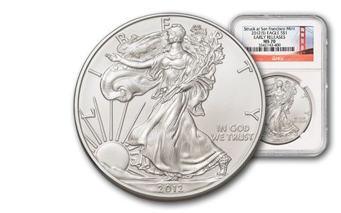 2012-S 1 Dollar 1-oz Silver Eagle MS70 Early Release Bridge
