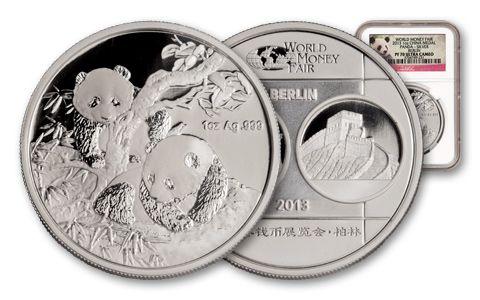 2013 China 1-oz Silver Panda Medal NGC PF70 Berlin Show