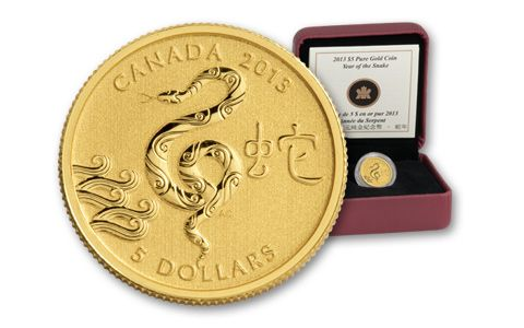 2013 Canada 5 Dollar Gold Year of the Snake Coin
