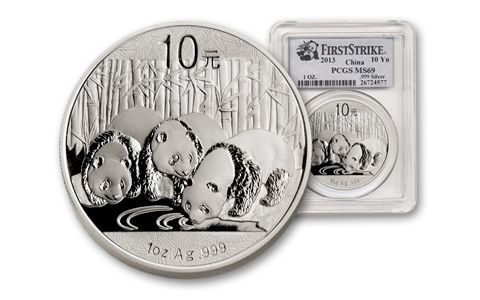 2013 China 1-oz Silver Panda First Strike MS69