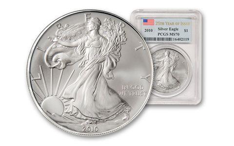 2010 1 Dollar 1-oz Silver Eagle PCGS MS70 - 25th Anniv.