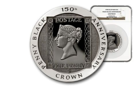 1990 Isle of Man 5-oz Silver Penny Black NGC Gem Proof