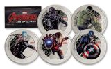 2015 Niue 2 Dollar 1-oz Silver Marvel Avengers 5 Piece Proof Set
