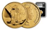 2016 Niue 25 Dollar 1/4-oz Gold Star Wars Classic R2-D2 NGC PF69UCAM First Releases