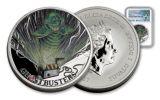 2017 Tuvalu 1 Dollar 1-oz Silver Ghostbusters Slimer MS70