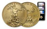 2018 5 Dollar 1/10-oz Gold Eagle NGC MS70 FDI Mercanti Jones Moy Signed 3pc Set - Black