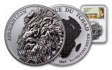 2018 Chad 5000 France 1-oz Silver African Lion NGC MS70 First Releases