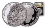 2018 Chad 5000 Franc 1-oz Silver African Lion NGC PF69UCAM FDI Lion Label - Black