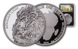 2018 Chad 5000 Franc 1-oz Silver African Lion NGC PF70UCAM FDI Lion Label - Black