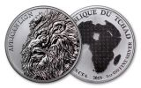 2018 Chad 5000 Franc 1-oz Silver African Lion BU Mint Box