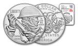 2018-P 1 Dollar Silver World War I Centennial NGC PF69UCAM First Releases Everhart Signed