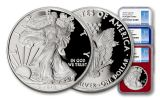 2018-W 1 Dollar 1-oz Silver Eagle NGC PF70UCAM First Day Of Issue - Red White Blue 3pc Set