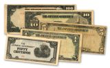 """Japanese WWII """"Philippines Invasion"""" 5 Piece Currency Notes Set"""