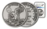 Apollo 11 Robbins Medal 1-oz Silver with Space Flown Alloy Antiqued NGC Uncirculated - 50th Anniversary Commemorative