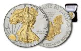 2019 $1 1-oz Silver American Eagle BU Gilded with 24 Karat Gold Walking Liberty and Eagle