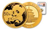 2019 China 3 Gram Gold Panda NGC MS69 First Releases - Temple Label