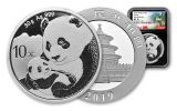 2019 China 30 Gram Silver Panda NGC MS70 First Releases - Black Core, China Great Wall Label