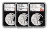 2019-W $1 Silver American Eagle 9-Piece Set NGC PF70UC First Day of Issue - Black Core, WDC/D/P Jones/Mercanti/Moy Signed Labels