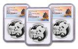 2019 China 30 Gram Silver Panda Three-Mint 3-Piece Set NGC MS70