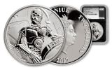 2017 Niue 2 Dollar 1-oz Silver Star Wars Classic C-3PO NGC PF69UCAM First Releases - Black