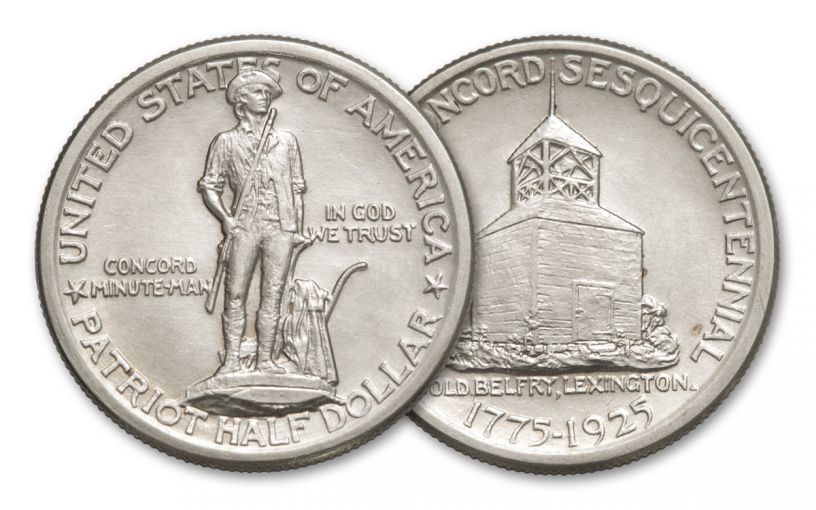 1925-P Silver Half Dollar Lexington-Concord Sesquicentennial Commemorative AU