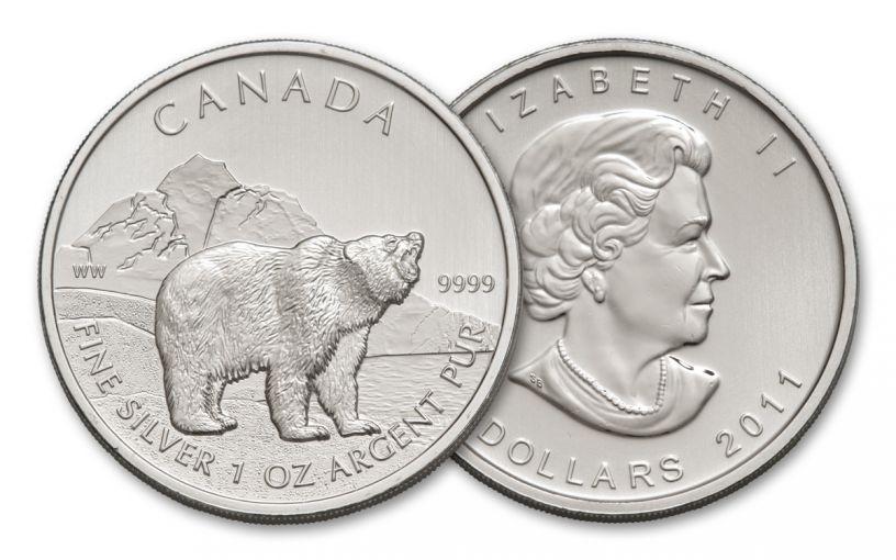 2011 Canada 1-oz Silver Canada Grizzly BU