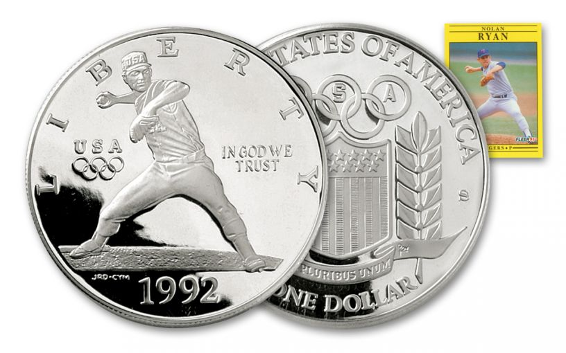 1992-S 1 Dollar 1-oz Nolan Ryan Silver Dollar Proof With Card