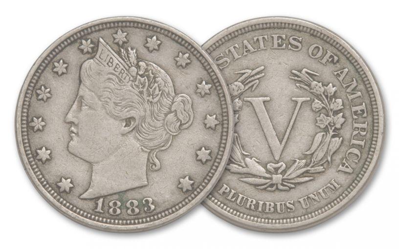 1883-P 5 Cent Liberty Head VF-XF No Cent