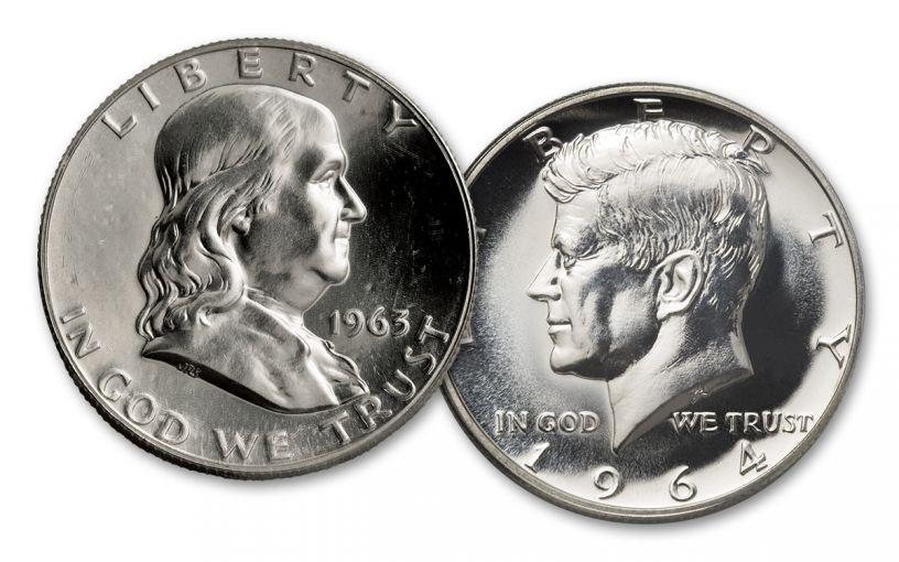 1963-1964 Franklin Kennedy Half Dollar 2 Pc Set