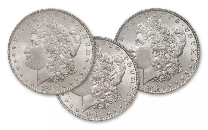 1885-1887-P Morgan Silver Dollar BU 3pc Set