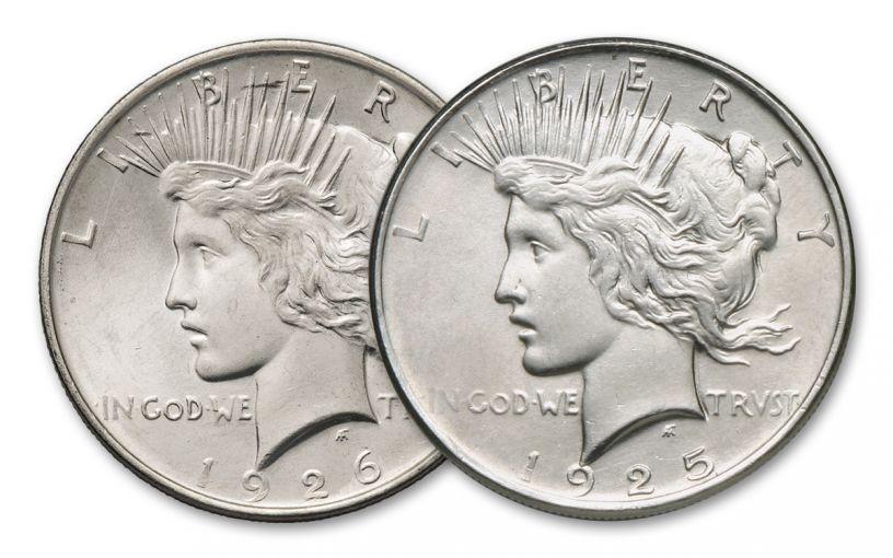 1925-1926 Peace Dollar Almighty BU Set