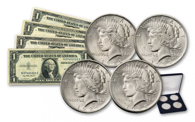 1922–1925 Silver Peace Dollar BU & 1935 $1 Silver Certificates 8-pc Set