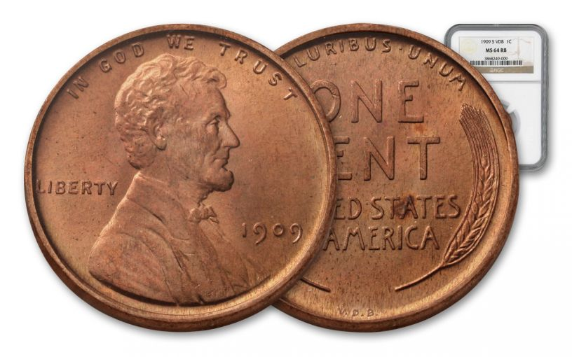 1909-P One Cent Lincoln VDB NGC MS64 Red-Brown
