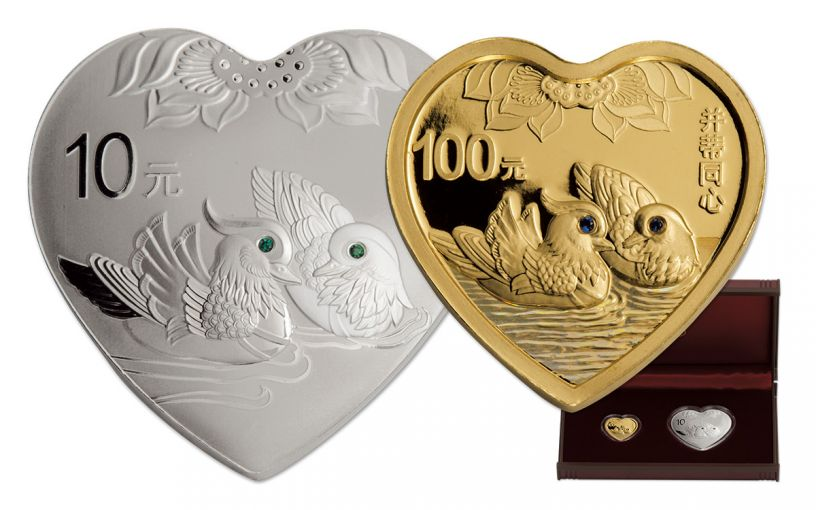 2016 China Gold and Silver Auspicious Heart 2 Pc Proof Set with Box