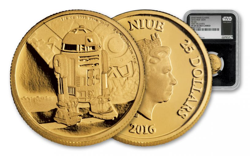 2016 Niue $25 1/4-oz Gold Star Wars R2-D2 NGC PF69UC First Releases - Black Core
