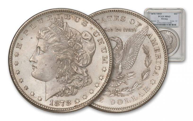1878 Morgan Silver Dollar 7/8 Tail Feathers PCGS MS63