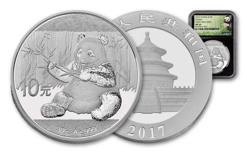 2017 China 30-Gram Silver Panda NGC MS69 Early Release Panda Label - Black