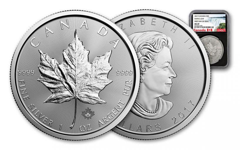 2017 Canada 5 Dollar 1-oz Silver Maple Leaf NGC MS69 FDI - Black