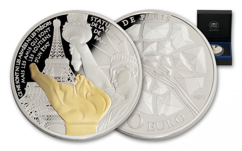 FRANCE 2017 10 EURO SLVR STATUE OF LIBERTY PROOF