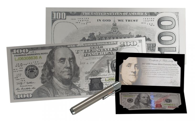 2017 100 Dollar Benjamin Franklin Silver Currency Strike