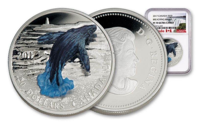 2017 Canada 1 Ounce $20 Silver Breaching Whale 3D Proof NGC PF70UC