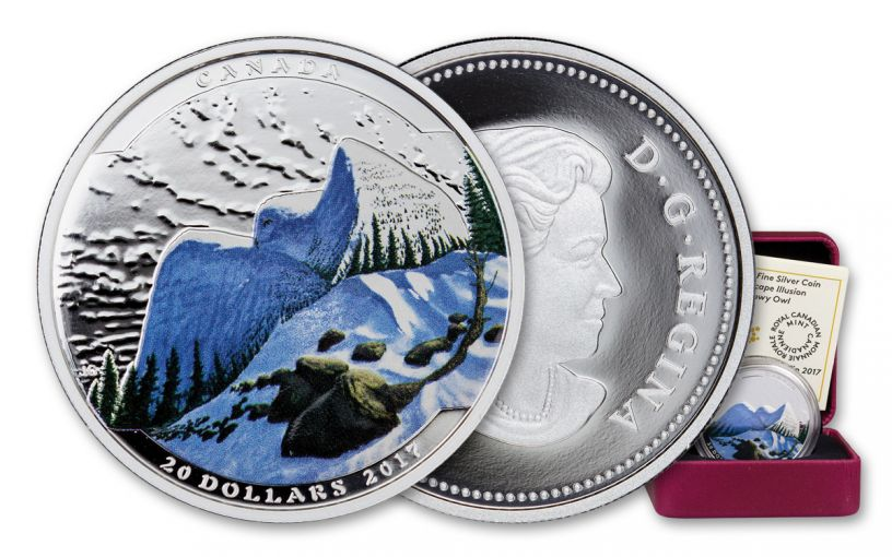 2017 Canada 1 Ounce $20 Silver Snowy Owl Colorized Proof - Landscape Illusion