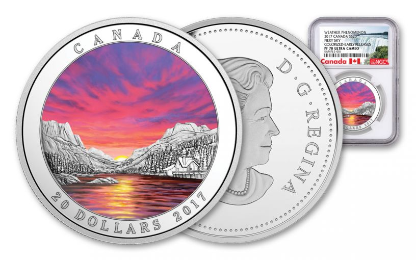 2017 Canada 1 Ounce $20 Silver Fiery Sky NGC PF70UC Early Releases