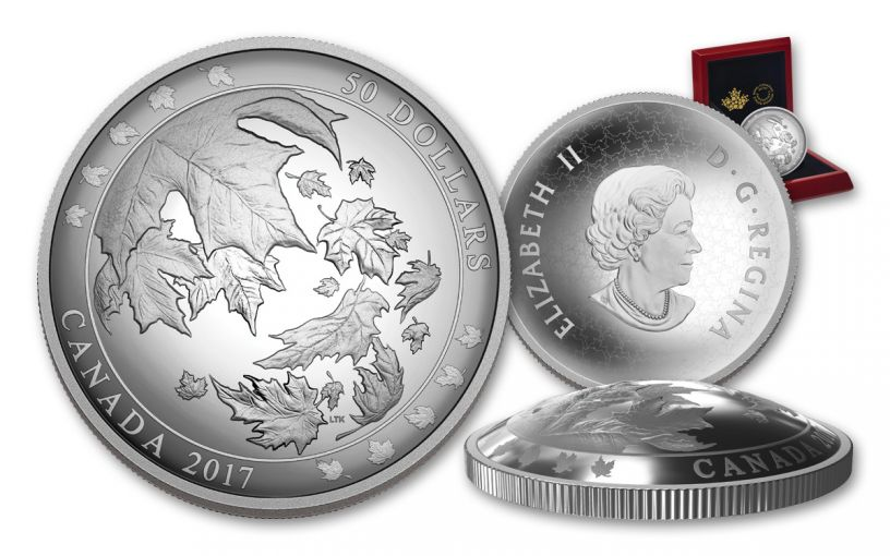 2017 Canada 50 Dollar 5-oz Silver Maple Leaves in Motion Proof