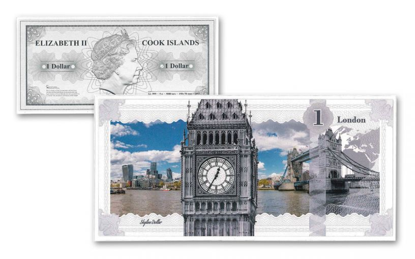 2017 Cook Islands 1 Dollar 5-gram Silver London Skyline Dollar Proof-Like